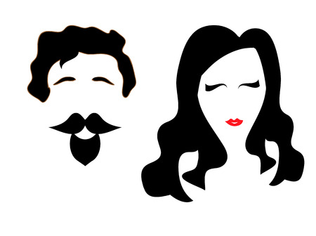 Lady and gentleman symbol, man and woman in the graphic design