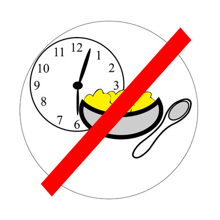 Icon depicting rule - do not eat after six. The motivation for losing weight women.