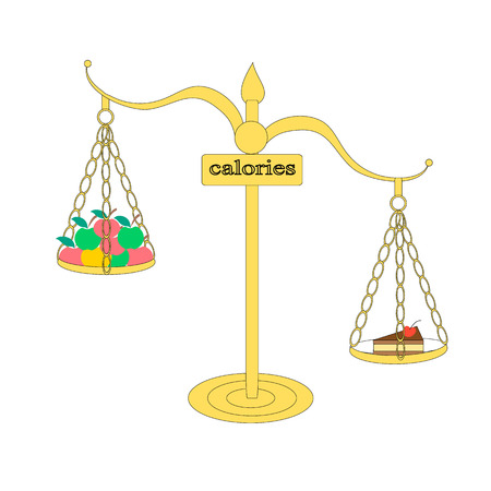 Illustration comparing the number of calories in fruits and pastries. Scales show that cake kaloryi more than in apples. Illustration for those who are dieting and want to lose weight