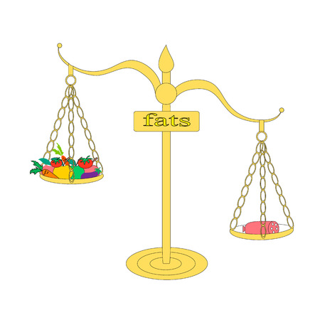 comparing: Illustration comparing the amount of fat in fruits and vegetables and sausage Illustration for those who want to lose weight. Scales show that more fat in the sausage than vegetables