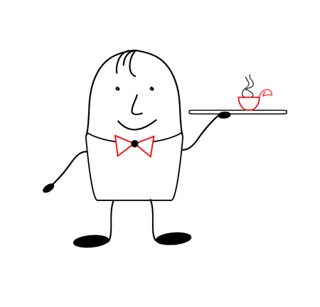 satirical: Icon waiter. Figure waiter in the style of satirical comics Illustration