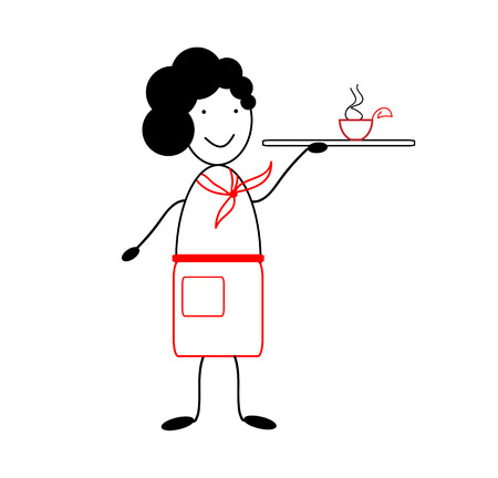 Icon waiter. Figure waiter in the style of satirical comics Illustration