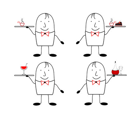 satirical: Set of 4 figures waiters. Figure waiter in the style of satirical comics Illustration