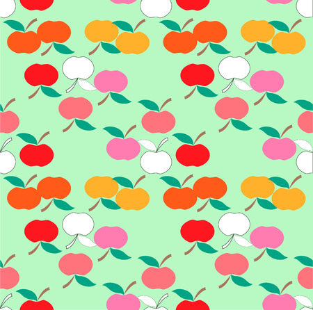 green apples: Apple background. Textile red and green apples pattern.