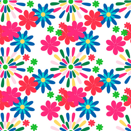 flower bright: Seamless pattern with flower. Bright flowers on a white background. Illustration