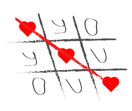 heart failure: Declaration of love in the form of the game. Hand drawn tic-tac-toe elements. Happy Valentines day symbol