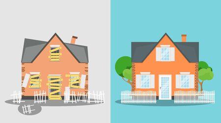 Maison avant et après réparation. Chalet de banlieue neuf et ancien. Rénovation de la maison. Maison de rénovation. La vieille maison abandonnée s'est transformée en une nouvelle.
