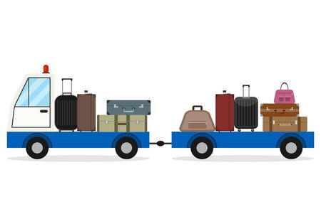 Airport luggage delivery car. Modern Luggage Towing Truck Airport Ground Support Vehicle Transportation Illustration