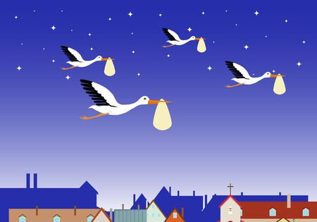 A stork carries a child in the night sky above the rooftops. Storks with a baby. Flat, vector illustration of a stork carrying a child.