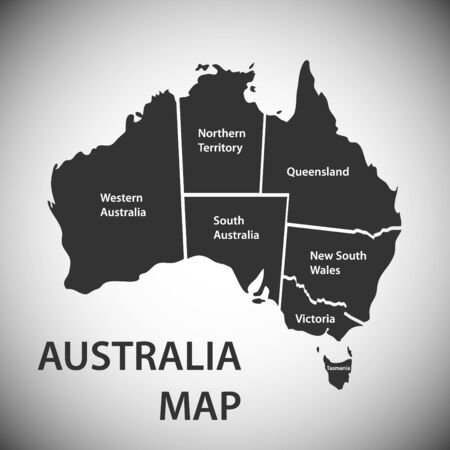 Australia state map. Realistic isolated map of Australia. Vector illustration, vector.