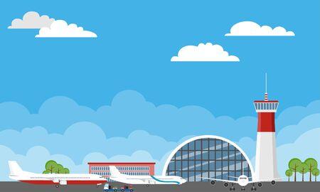 Flughafengebäude und Flugzeuge. Flughafen-Terminalgebäude mit abhebenden Flugzeugen. Flughafengebäude und Flugzeuge auf der Landebahn mit Verkehrskegeln auf Naturlandschaftshintergrund. Vektorgrafik