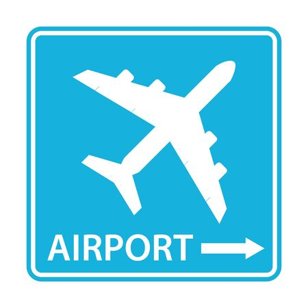Airport icon for web and mobile. Airport pointer icon. Blue airport sign with directions isolated on white.