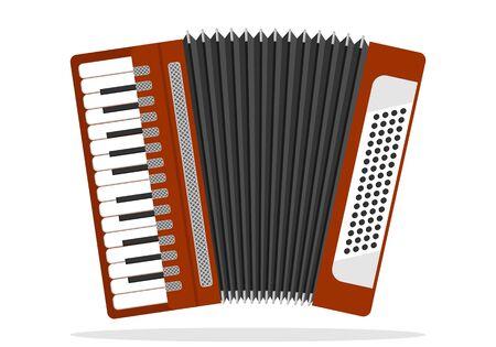 Acordeón, acordeón de botones. Acordeón aislado en blanco. Instrumento musical.
