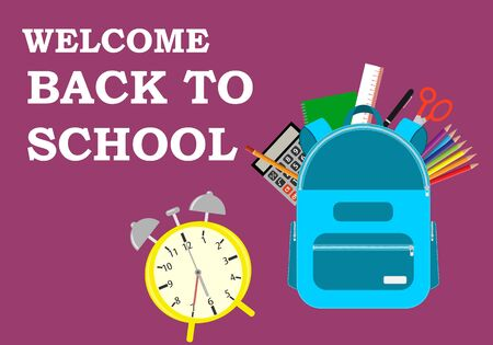 Back to school web banner, colorful kid backpack illustration. Concept of education. Back to school sale banner, poster, flat design colorful, vector. Vettoriali