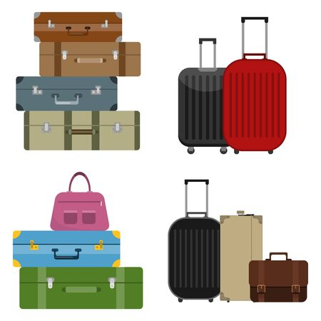 A set of tourist suitcases. Different options for tourist suitcases. A large set of tourist suitcases. Vector illustration, vector.