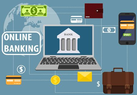 Online banking, communication with the bank through a laptop. Mobile banking. Wallet, business briefcase, letter, banknote, credit card. Vector illustration