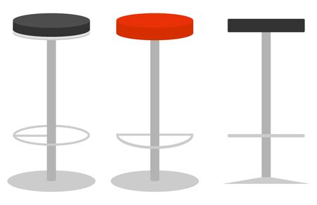 Bar stool, modern metal bar stool. Bar stool side view and isometric view. Vector illustration. Vector.