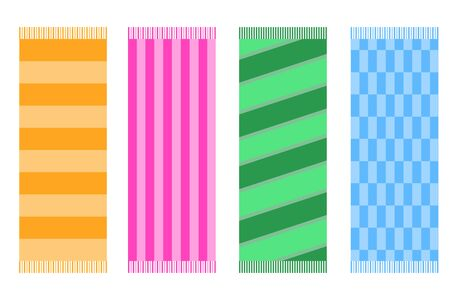 Beach towel, a set of colored beach towels. Vector illustration of a beach towel.