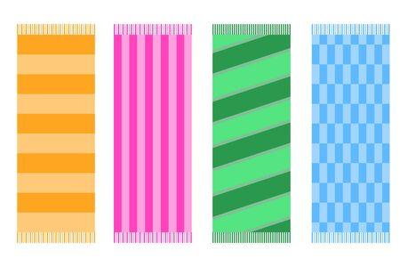 Toalla de playa, un juego de toallas de playa de colores. Ilustración de vector de una toalla de playa.