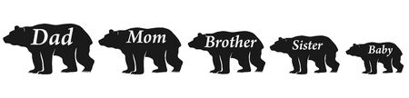 The family of bears. Daddy bear, mommy bear. Vector illustration of silhouettes of copper scientists isolated on white. Vector. Foto de archivo - 134877636