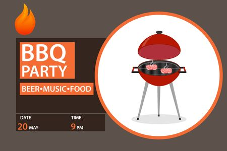 Barbecue party, steak stir fry on a barbecue. Vector illustration of a grill.