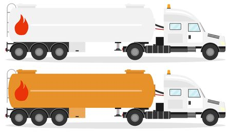 Fuel truck, realistic fuel truck with shadow isolated on white. Vector illustration of two fuel trucks. 向量圖像
