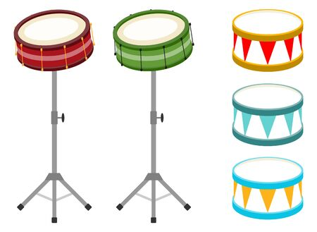 Drum, set of realistic drums isolated on white. Cartoon, vector illustration of a drum with sticks.