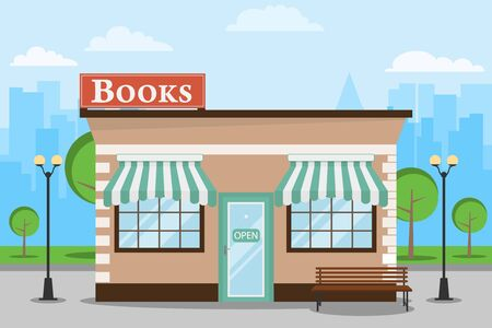 Bookstore, bookstore building against the backdrop of the cityscape. Bookstore with a bench and trees. Vector illustration, vector. Stockfoto - 134877642