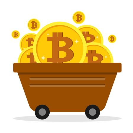 Bitcoin mining. Trolley with bitcoin coins. Vector illustration of mining concept.
