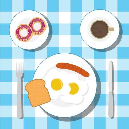 Śniadanie na stole z obrusem. Śniadanie z jajkiem sadzonym z kiełbasą i kawą z pączkami. Wektor.