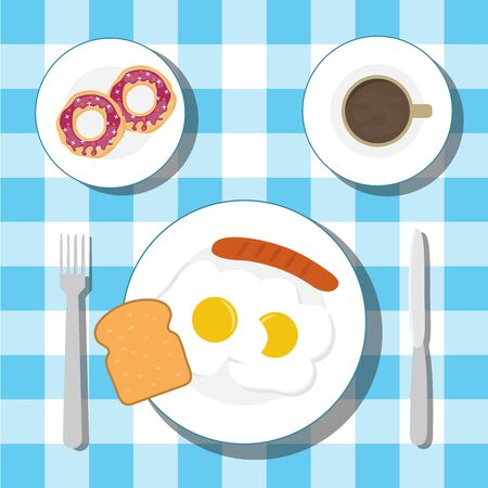 Frühstück auf dem Tisch mit einer Tischdecke. Frühstück mit Spiegeleiern mit Wurst und Kaffee mit Donuts. Vektor.