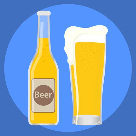 A glass of beer with a bottle of beer. Full glass of beer. Flat design, vector. Ilustracja