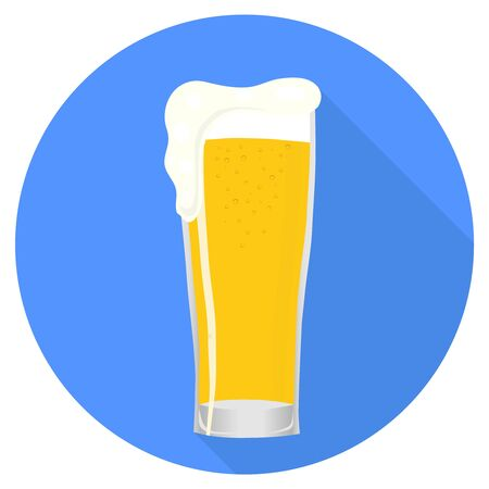 Glass of beer, beer glass with shadow isolated on blue background. Vector illustration of a glass of beer