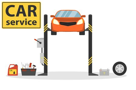 Car lifting. Vehicle repair icon. Center Mechanical car service with repair of Check Up vehicles. vector illustration. Foto de archivo - 134877857