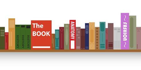 Bookshelf, a shelf with books, set of books, library, reading. Vector illustration.