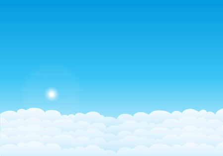 Sky with clouds on a sunny day. Sky and clouds background. Stylish design with a flat poster, flyers, postcards, web banners. Vector illustration.