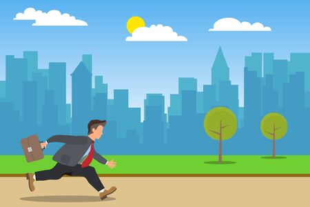A businessman runs to work, a businessman hurries to work with a briefcase against the background of the cityscape. Vector. Ilustrace