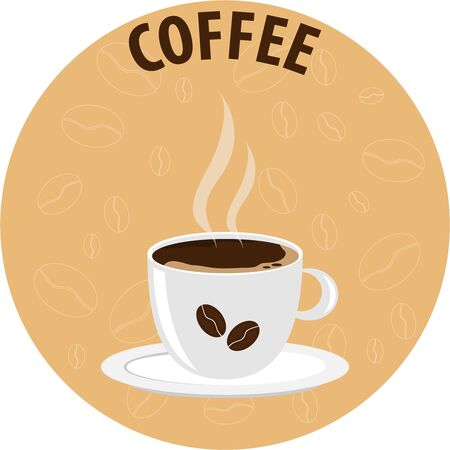 A cup of coffee, a realistic white cup of coffee with coffee beans. Flat design, vector.
