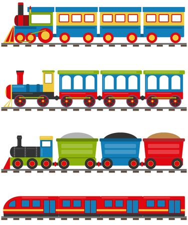 Cartoon train with carriages. A cartoon railway with a locomotive and wagons. Vector illustration of a cartoon train.