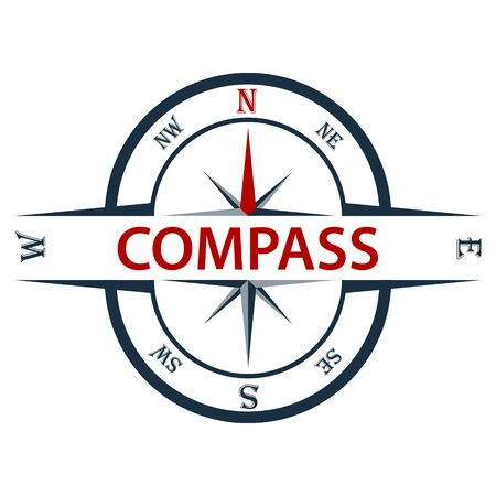 Compass icon isolated on white background. Vector illustration of a compass. Ilustracja