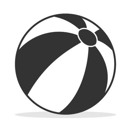 Beach ball, beach ball icon. Vector illustration of a beach ball with shadow. Illustration