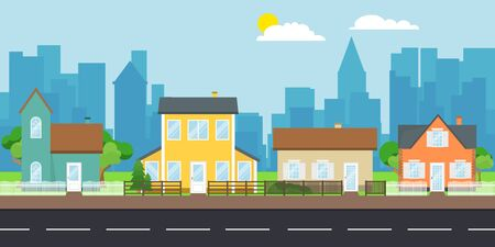 Street with facades of houses. Street with private houses on the background of the urban landscape. Vector illustration of a cartoon street. 向量圖像