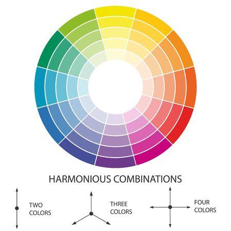 Color scheme. Circular color scheme with warm and cold colors. Vector illustration of a color scheme.