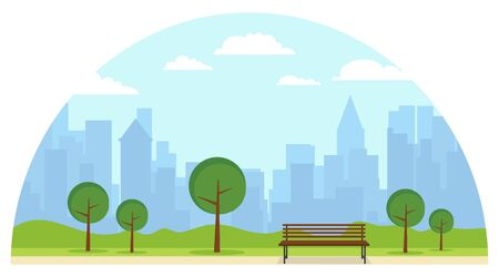 Public park with a bench on the background of green lawn. A bench in the park against the background of the cityscape. Cartoon illustration of a public park. Stock Illustratie