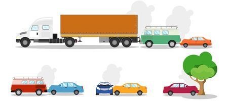 Road accident different situations collection. Car accidents and crash set flat vector Illustration on a white background.