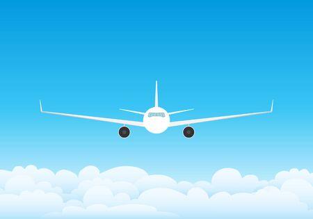 Das Flugzeug fliegt in den Wolken gegen den blauen Himmel. Himmel mit Wolken und fliegenden Verkehrsflugzeugen. Vektorillustration des Himmels mit Wolken.