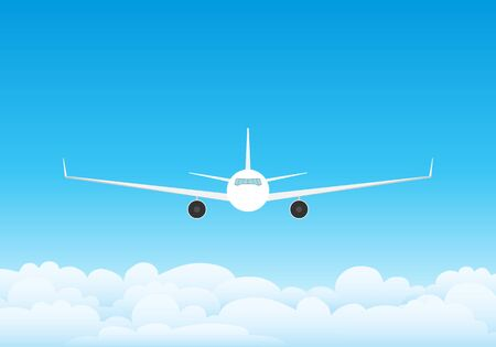 The plane flies in the clouds against the blue sky. Sky with clouds and flying commercial aircraft. Vector illustration of sky with clouds.