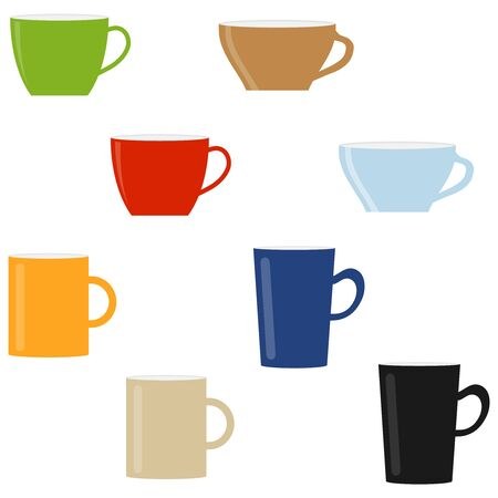 Vector cup. High detailed vector illustration of colorful cups isolated on white background. Flat Character Icon Cup of tea.