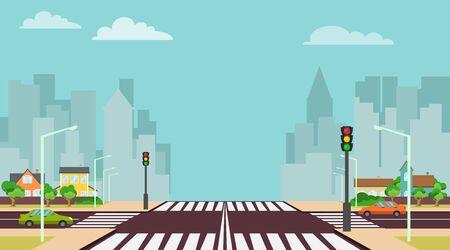 Cartoon city crossroads with traffic lights, sidewalk, crosswalk and urban landscape. Stock vector illustration of roadside cartoon landscape with roadway, road, sidewalk and empty pedestrian zone.