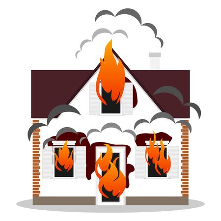 Burning house, burning house icon. The flame burns the house. Vector.